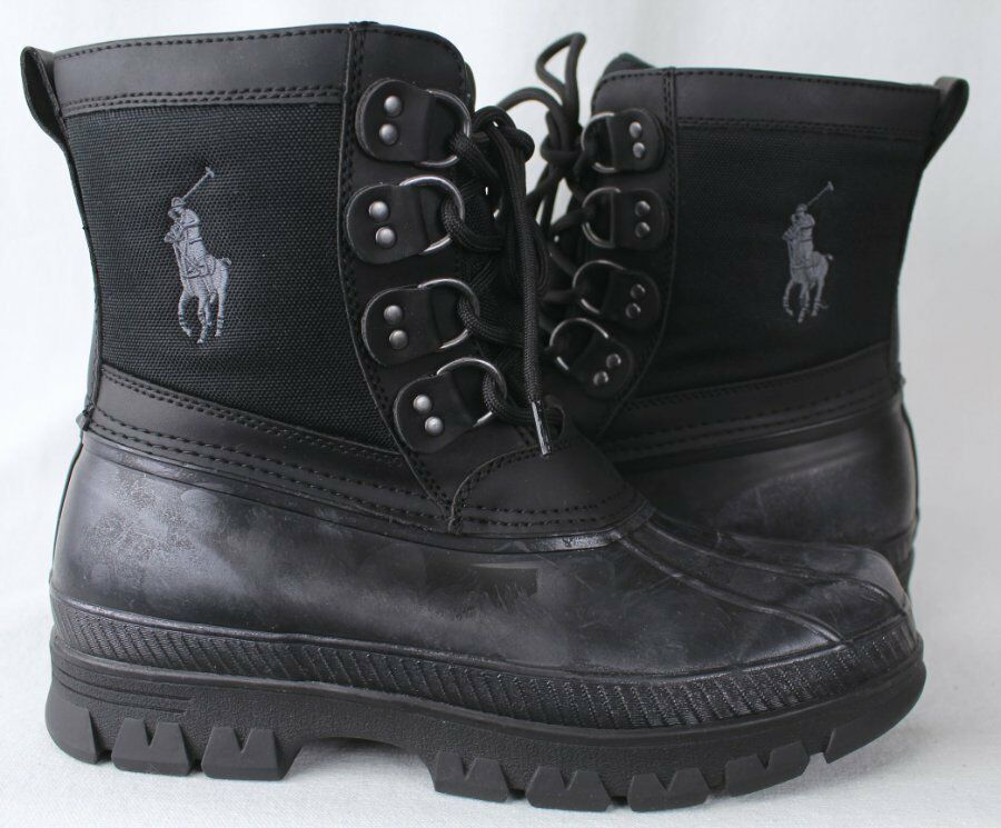 Polo Ralph Lauren crestwick botas De Caucho Negro gris Big Pony Nuevo con etiquetas