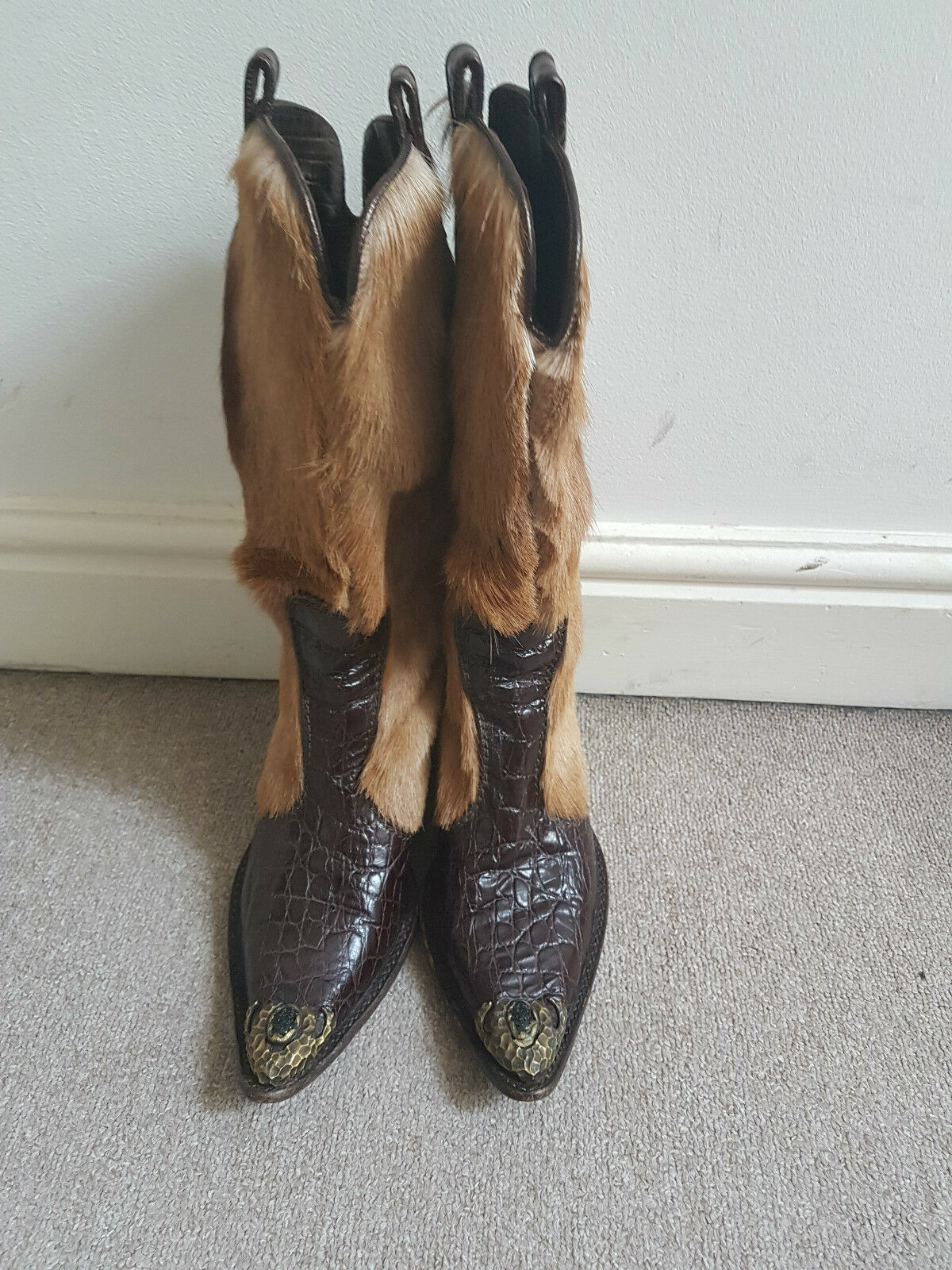VERO CUOIO Italian Sneak Skin Leder Leder Skin  fur Cowboy Stiefel Schuhes Camel  Größe 37.5 04afda