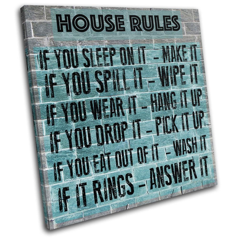 Family House Rules  Typography SINGLE TELA parete arte foto stampa