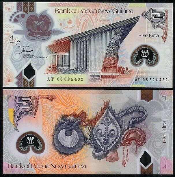 PAPUA NEW GUINEA 5 KINA (20)08 P29 POLYMER UNCIRCULATED