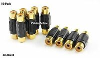 Rca Female To Rca Female Composite/component Coupler - Gold Plated (10-pack)