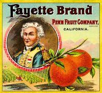 Los Angeles French Marquis De La Fayette Orange Citrus Fruit Crate Label Print