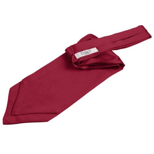 DQT Satin Plain Solid Burgundy Wedding Self-Tie Mens Cravat