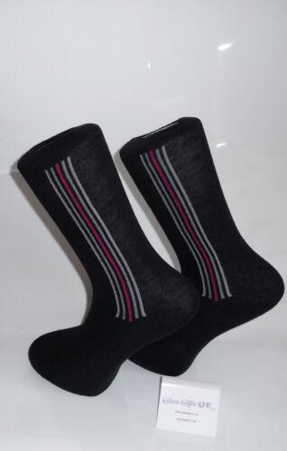 SOX Calze nere con Verticale Sottile BIANCO calzini di cotone Rosa Strisce Design