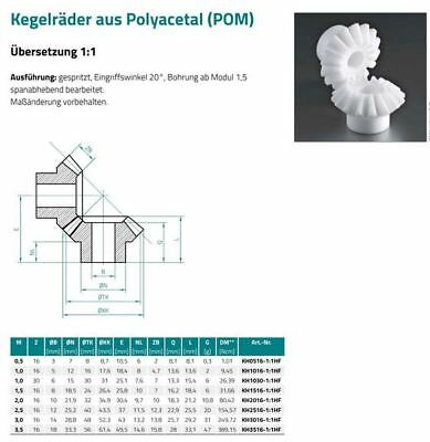 Modul 0.5 Kunststoff Kegelzahnrad // Kegelzahnradsatz Übersetzung 1:1