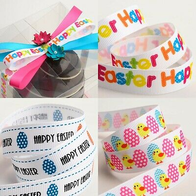 Easter  Ribbon by Berisfords Eggs Bunny Prints Widths 15mm 25mm Various Lengths
