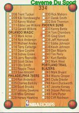 334 CHECK LIST CARD CARTE BASKETBALL NBA HOOPS 1990