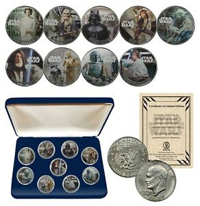 STAR-WARS-Genuine-1977-Eisenhower-Dollar-9-Coin-Set-w-BOX-OFFICIALLY-LICENSED