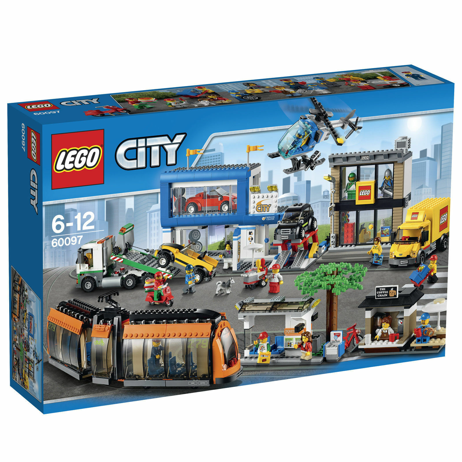 LEGO® CITY 60097 Stadtzentrum NEU /& OVP 3 Autos 12 Minifiguren Helikopter LKW