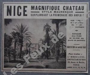 Methodical Publicité Immobilier Nice Chateau Mauresque Promenade Des Anglais 1927 Advert Collections