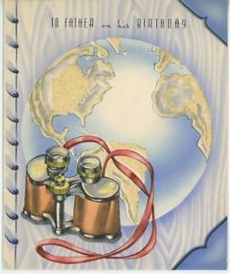VINTAGE 1940'S WORLD GLOBE MAP BINOCULARS FATHER BIRTHDAY GREETING CARD PRINT