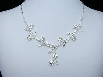 Bridal Wedding Jewelry Flower Rhinestone Crystal Necklace Earrings Set N139