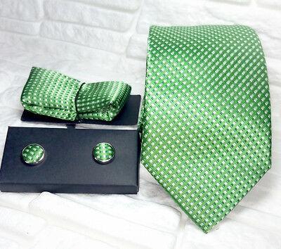 Capace Cravatta Seta Verde + Gemelli Coordinati + Pochette Italia Business / Matrimonio