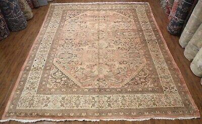 Selfless Antique Handmade Oriental Rug 100% Wool Allover Design Salmon Beige 8'10''x11'9' Antiques