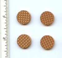 Lego X 4 Medium Dark Flesh Tile, Round 2 X 2 With Bottom Stud Holder W Waffle