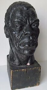 ANTIQUE-VINTAGE-BLACK-AMERICANA-STATUE-SCULPTURE-HEAD-1940-039-S-MYSTERY-ARTIST