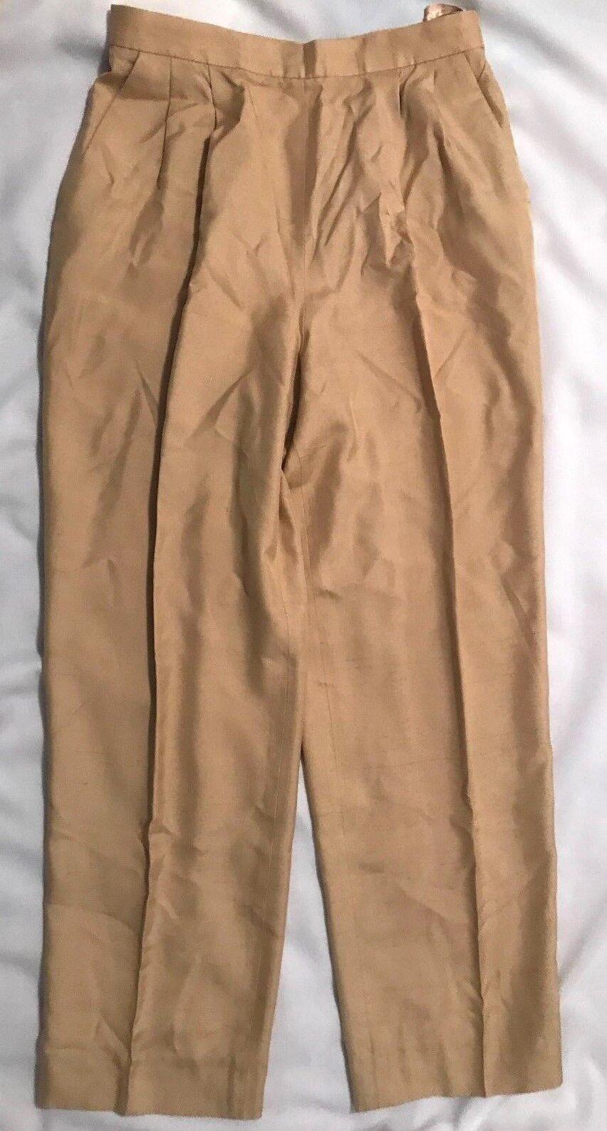 OSCAR DE LA RENTA STUDIO damen Gold Silk Pants-Größe 10-Fully Liined- Pleats-EUC