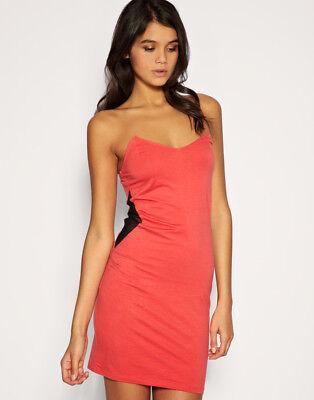 Ladies red sequine tube top mini black mini dress party clubbing nightwear 8-12