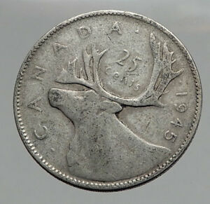 1945-CANADA-King-George-VI-of-Britain-Domains-Silver-25-Cent-Coin-CARIBOU-i62880