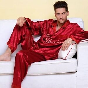 Mens Silk Satin Pajamas Pyjamas Sleepwear Set S M L XL 2XL 3XL 4XL ...