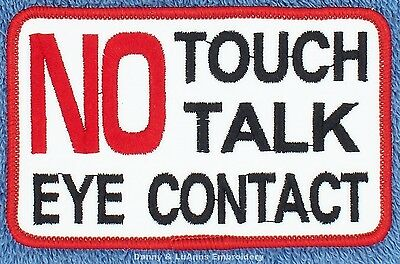 """SEW ON $5  NO TOUCH TALK EYE CONTACT SERVICE DOG 2.5X4"""" Danny LuAnns Embroidery"""