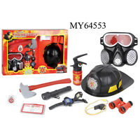 9 Pcs Kids Fire Fighter Pretend Play Kit Toys Child Fireman Role Costume Set,red
