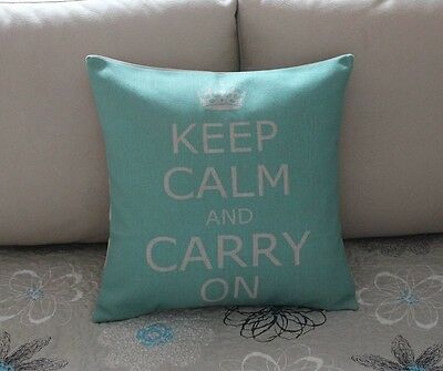 Turquoise Keep Calm And Carry On Cotton Linen Throw Pillow Cushion Cover Z509