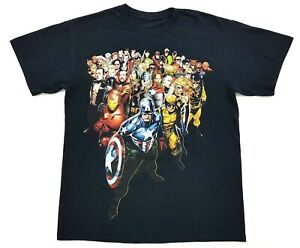 Marvel-Superheroes-Collage-Tee-Black-Size-Medium-Mens-T-Shirt