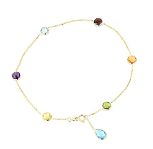 14K Yellow Gold Gemstone Anklet With A Blue Topaz Drop 9.5 Inches