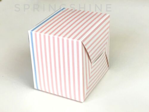 Stripe Bakery Boxes  for Cookie//Macaron Gift Party Pink Yellow Bluepack of 12