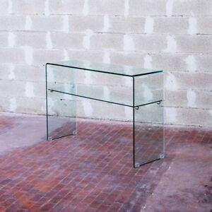 Dettagli su Consolle in vetro curvo Shelf - soggiorno, salotto, vetro  curvato, 12mm. Ripiano