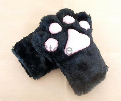Anime Cosplay Party Costume Cat Plush Paw Claw Gloves Pair BLACK