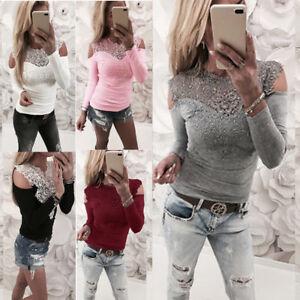 b6c522b23a209 Womens Ladies Lace Long Sleeve T-shirt Slim Sexy Off Shoulder Blouse ...