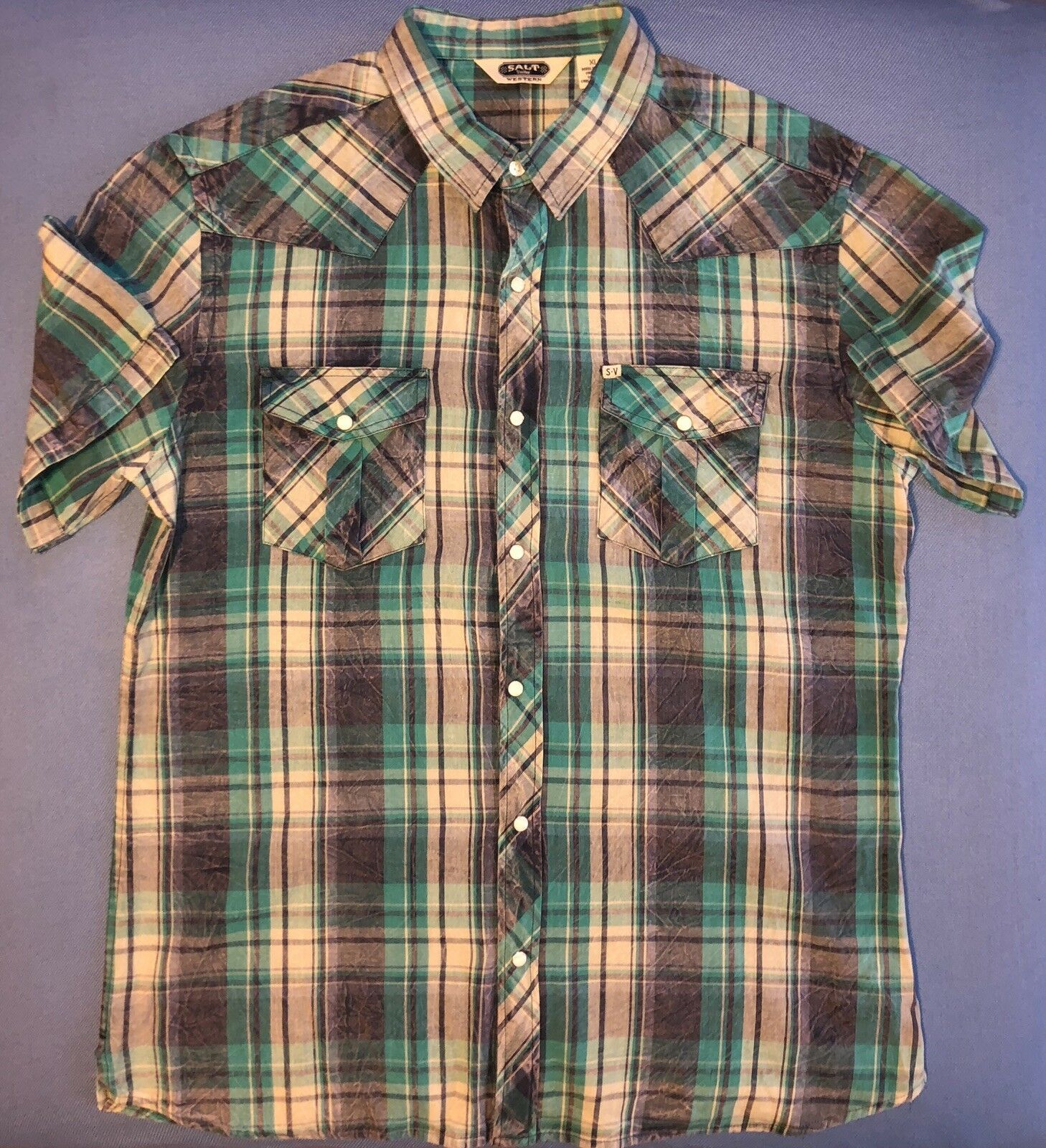 Salt Valley Western Plaid Pearl Snap Short Sleeve Shirt Men's XLarge