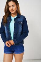 TOPSHOP LADIES DENIM JACKET Womens Waist Jackets Medium Wash Blue - 12 14 16 18