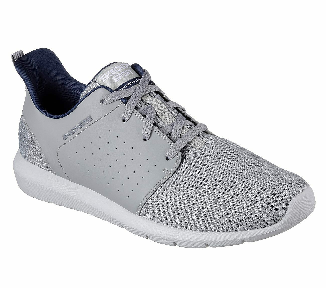 52390 Gray Skechers shoe Men Memory Foam Sport Mesh Leather Comfort Train Casual New shoes for men and women, limited time discount