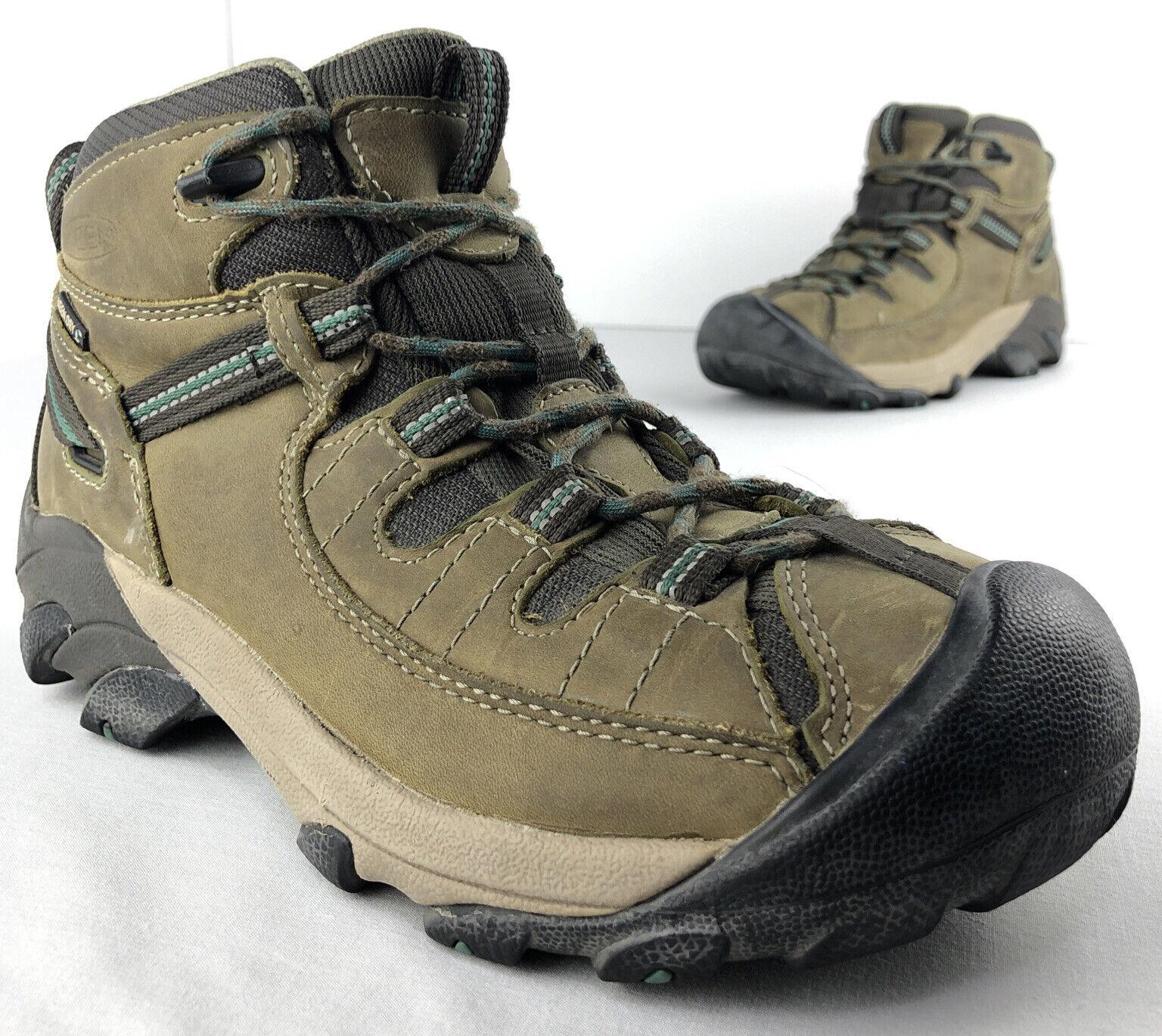 Keen Targhee II Mid Hiking Brown Leather Boots Womens 7 EUR 37.5 Lace Waterproof