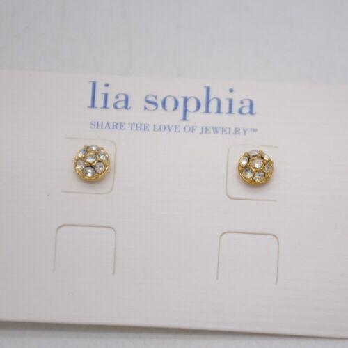 Neuf avec étiquettes Lia Sophia Bijoux Mignon Gold Tone Cut cristaux Percé Clous Post Boucles d/'oreilles