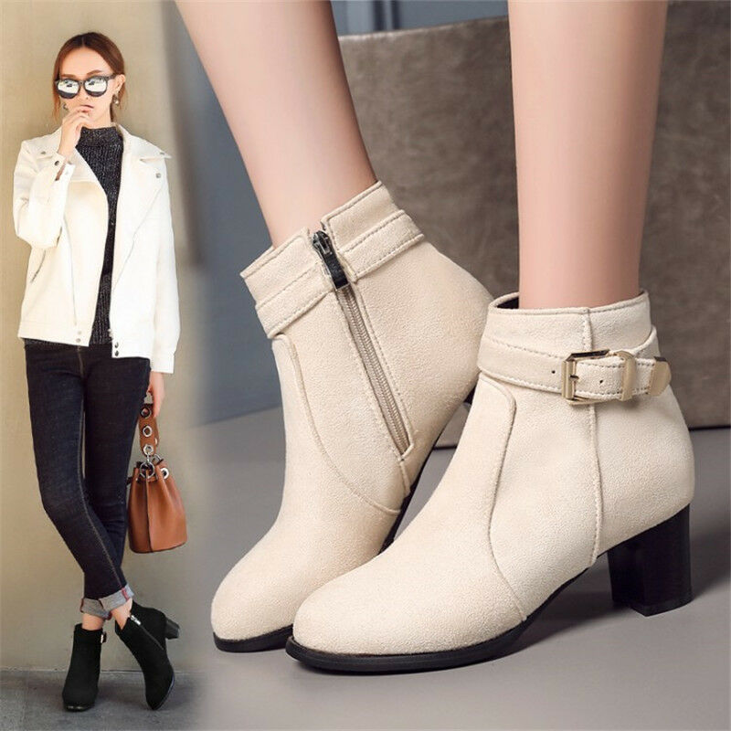 Fashion Women's Ankle Boots Round Toe Chunky Block Heels Suede shoes Side zipper
