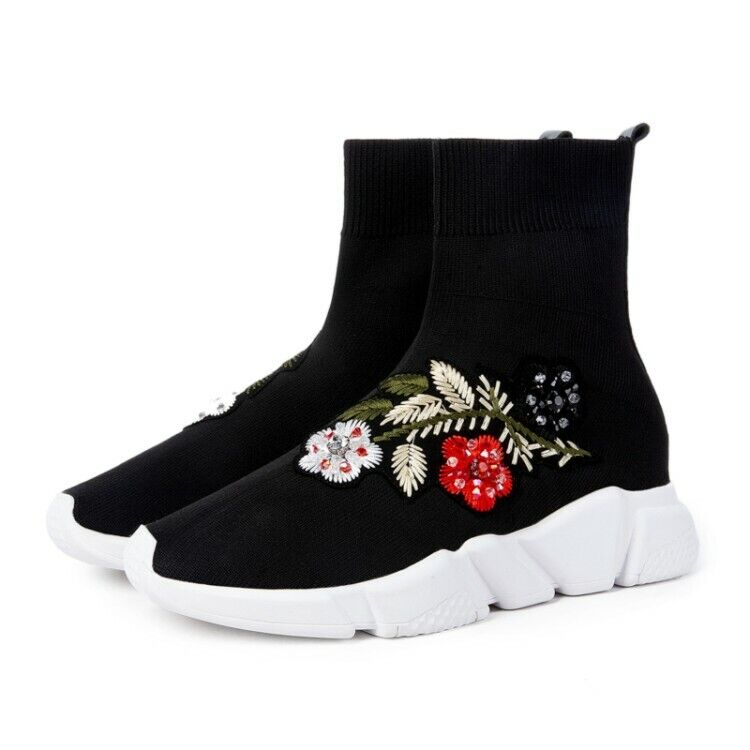 Donna Rhinestones Knit Ankle Sock stivali Slip On Embroidery Floral Fashion scarpe