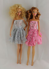 Set of 2 Cute Short Dresses in Silver and Pink Sequins  Made to Fit Barbie Doll