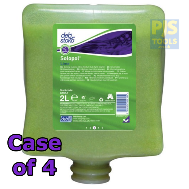 4 x Deb solopol lime wash 2 lt cartridge hand cleaner LIM2LT 2lt 2 litre 2L