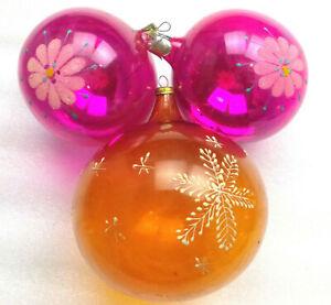 3-Alten-Antiker-Russen-Christbaumschmuck-Glas-Weihnachtsschmuck-Ornament-Kugels