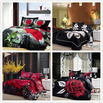 Hot Floral Queen/King Size Bed Quilt/Doona/Duvet Cover Set New Cotton Linen