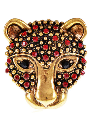 Cheetah Leopard Kitten Cat Head Ruby Crystal Fashion Trend Rhinestone Charm Ring