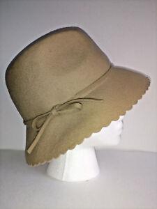 NINE AND CO Nine West FEDORA Hat Womens One Size Beige 100% Wool ... 2c64c97bee2