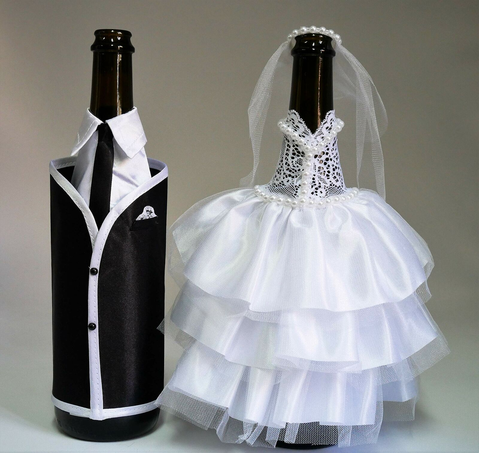 Bride and Groom Wine Bottle Covers dress-up for Weddings Good For Wedding  Gifts for sale online