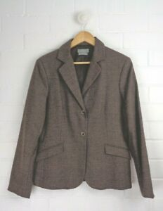 JACQUI-E-Brown-Fleck-Classic-Blazer-Jacket-Fitted-Style-WOOL-Blend-Size-10