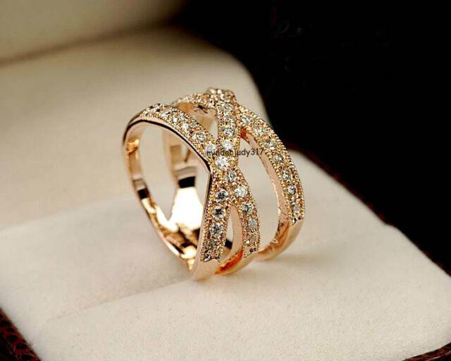 Fashion Women 18K Rose gold GP Crystal Cross Ring Size 6,7,8,9 K01