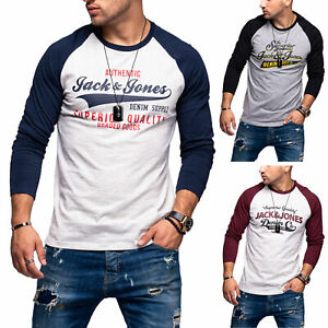Jack-amp-Jones-Hommes-Chemise-manches-longues-Print-Shirt-O-Neck-T-shirt-US-Casual